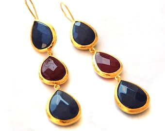 Dark Blue and Red Faceted Long Silver Earrings
