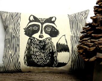 Raccoon and Wood Print Pillow - Woodland Raccoon and Wood Grain Print Pillow