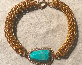 Persian 6-in-1 Chainmaille Bracelet with Turquoise center stone