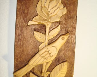 hand made wood-carving in shape of rose with birdOne of a Kind, ooak wood carvings, Hand made, Abstract carving, Wall Art Decor