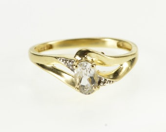 10K Oval Spinel Diamond Accented Wavy Freeform Ring Size 7 Yellow Gold