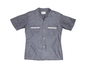Manhattan Gray Chambray Loop Collar Short Sleeve Shirt