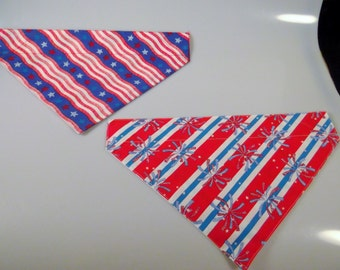 Dog Bandana Over the Collar Small Medium Large Fourth 4th of July Fireworks Patriotic Pet Neckwear Accessory Red White Blue Stars Stripes