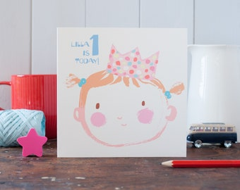 First birthday card for a baby girl, personalised little girl greeting card, cute illustration, for a girl, baby face, party hat, age card