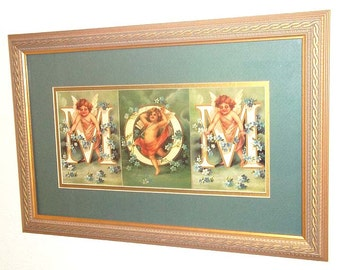 Stunning Matted & Framed Print Featuring Angels Decorating the word MOM With Flowers - Wonderful Mother's Day or Birthday Gift for a Mother