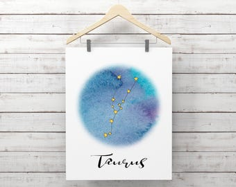 Zodiac Print, Taurus Print, Constellation Print, Astrology Printable, Taurus Astrological Sign, Taurus Watercolor Wall Art