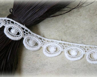 """Tresors   Ivory Venice Bridal Crafting Embroidered Fabric Lace Trim LA-079 10% off """"SUMMER10"""" at checkout"""
