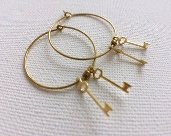 Hoop Earrings, Key Earrings, Brass Hoop Earrings, Gold Hoop Earrings, Key Ring Earrings, Key Jewelry, Gold Key, Brass Key, Vintage Earrings