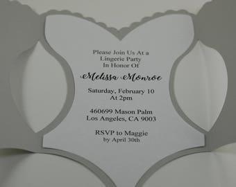 Gray Corset Invitation, Bridal Shower Invitation ,Lingerie Invitation ,Lingerie Shower, Bachelorette Party Invitation