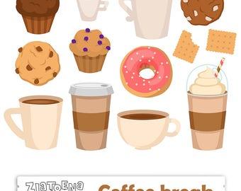Coffee Break Digital Clip Art Coffee clipart Coffee PNG Coffee pause digital Donut clipart Cupcake clipart Latte clipart Drink clipart Food