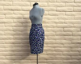 Vintage Floral Blue Pencil Skirt 80s Retro SZ 6