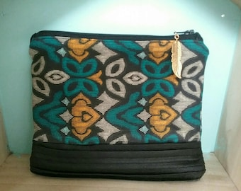 Multipurpose fabric and faux leather pouch