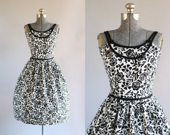Vintage 1950s Dress / 50s Cotton Dress / Deadstock Don About Black and White Floral Cotton Pique Dress S