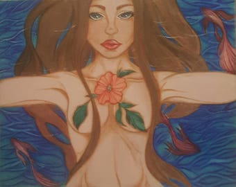 painting - woman in water