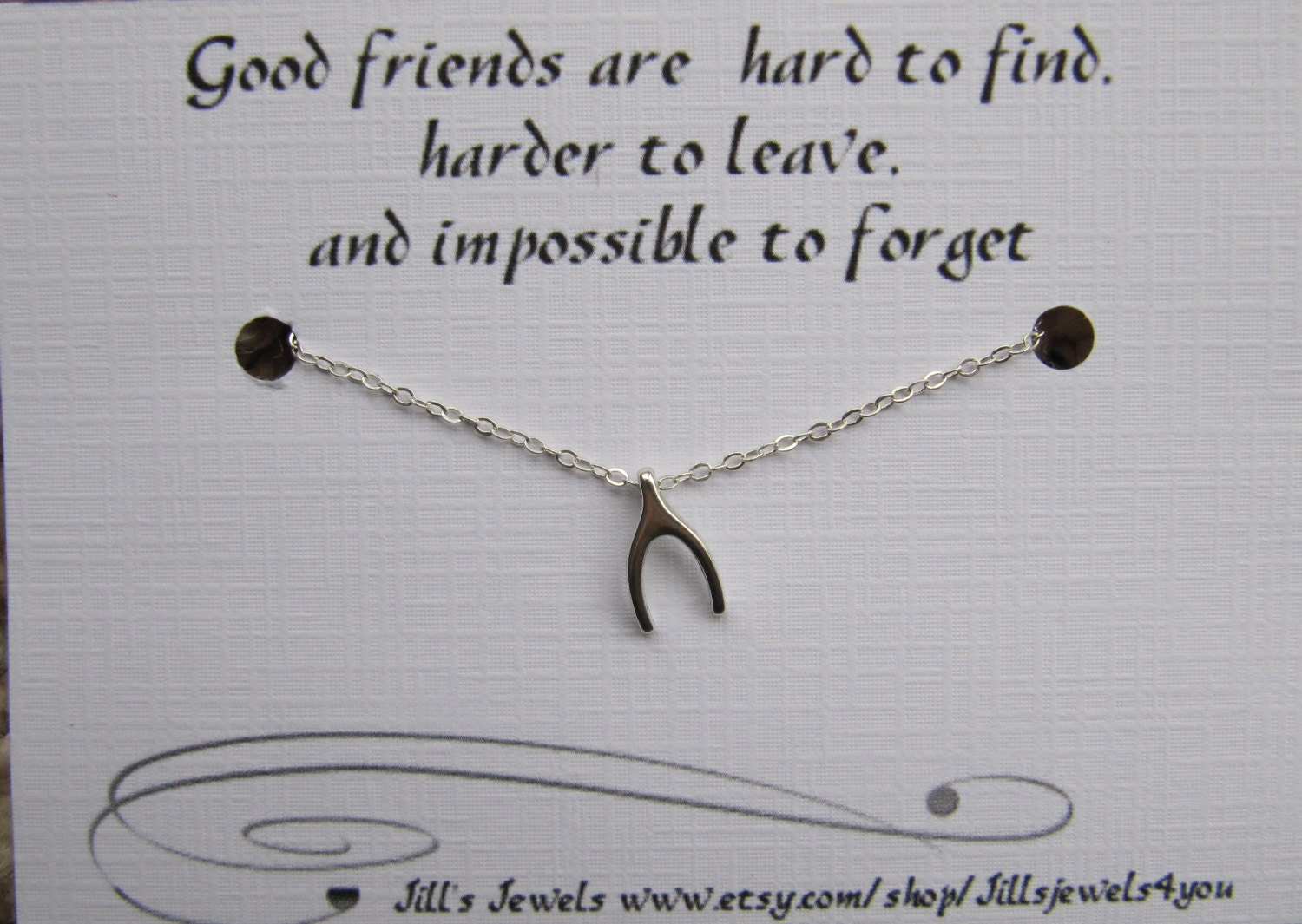 Quote About Distance And Friendship Best Friend Necklace With Wishbone And Friendship Quote