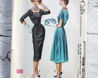 1950s dress pattern / McCall's 4568 / 1950s cocktail dress / 1950s party wiggle dress / bust 39""