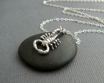 sterling silver scorpion necklace small spirit animal pendant realistic scorpio tiny arachnid simple zodiac jewelry strength intuition charm