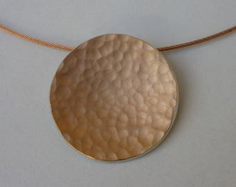 Pendant rose gold silver hammered
