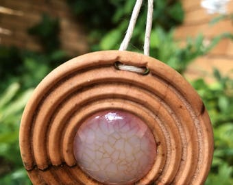 Wood and stone pendant