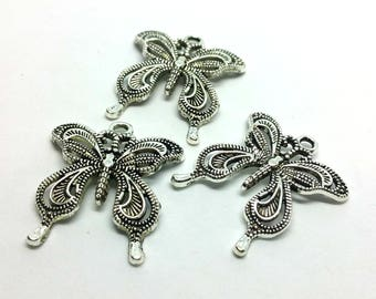 x 1 - Butterfly shabby charm. Butterfly - Silver plate
