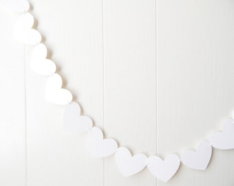 White Heart Garland / White Wedding Decoration / Love Bunting / Anniversary Decor / Photo Prop / Adjustable Hand Sewn