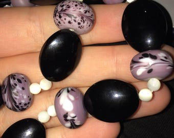 Purple, Black & Pearl Elegant Bead Necklace (Metal Free)