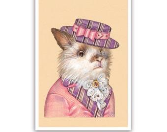 Mister Rabbit Art Print - Dandy Pet Wall Art, Baby Animals Decor - Pets in Clothing Art - Lovely Animal Portraits by Maria Pishvanova