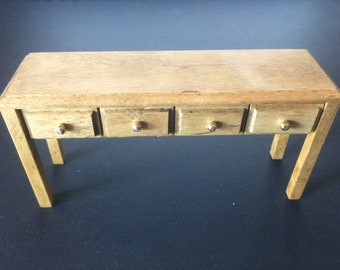 Vintage Dollhouse Miniature Rectangular Wooden Table With Four Drawers - 1980