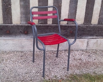 DISCOUNT 3 chairs with armrests wood metal chairs redone with new