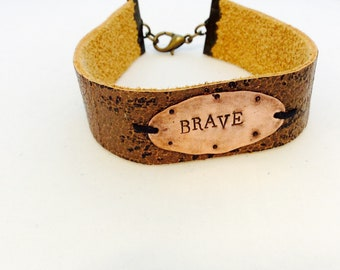 Leather and Copper BRAVE cuff bracelet