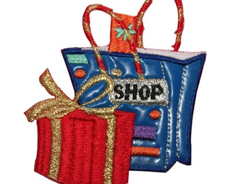 ID 8397 Shopping Gift Bag Patch Store Present Box Embroidered Iron On Applique