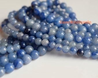 "15.5"" 4mm/6mm Natural blue aventurine round beads, blue gemstone, semi-precious stone, natural blue jewelry beads"