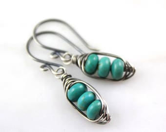 Wrapped Turquoise Pod Earrings Oxidized Silver