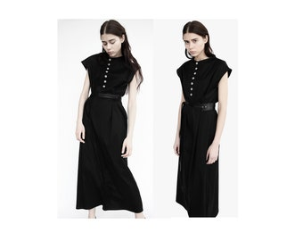 Simple black maxi dress/ little black dress/ summer cotton dress