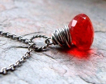 Red Quartz Sterling Silver Necklace - Crimson Red Faceted Quartz Briolette Pendant on Sterling Silver Chain