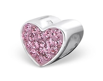 Rose Heart 925 Sterling Silver Bracelet Bead ( Fits Pandora and European Bracelets)