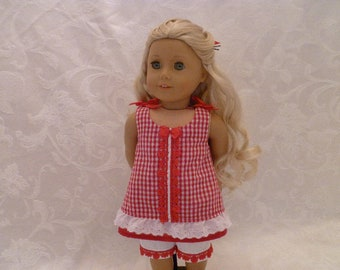 18 Inch Doll Red Gingham Summer Outfit Hand Made, Red Gingham Top with Lace and Ribbons & White Capris fits American Girl Dolls