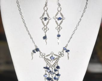 Upcycled Necklace and Earrings Set Blue Sodalite Silver Hand Wrought Wire Link  #290717 One Of A Kind