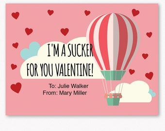 Kids Valentine Cards - Printable Valentine Cards - Personalized Valentines