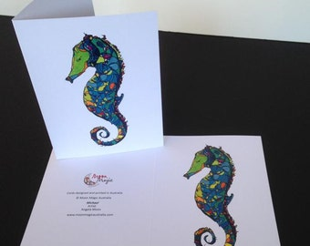 Seahorse Card Greeting Cards Blank Card Birthday Card Michael the Seahorse Ocean Artowrk Seahorse Art