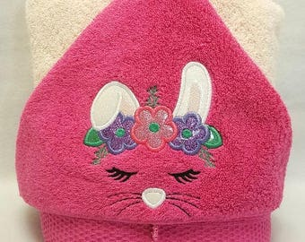 Spring Bunny Easter Hooded Towel
