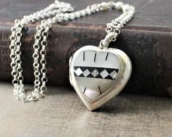 Silver Heart Locket Necklace, Mother of Pearl Locket Necklace, Sterling Silver Locket, Silver Photo Locket, Picture Locket, Unique Locket