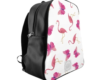 Pink Flamingo and Butterfly Backpack, Bird Print, Summer Bag, Women's Fashion, Summer Fashion, Animal Print