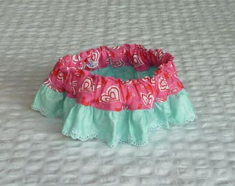 "Dog Ruffle Collar, Heart and Soul Dog Scrunchie Collar with embroidered heart trim - Size M: 14"" to 16"" neck"
