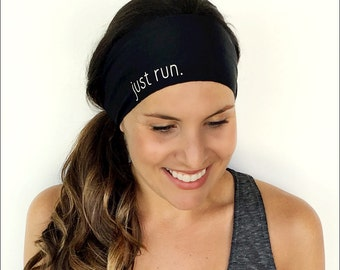 Yoga Headband - Just Run Print - Running Headband - Fitness Headband - Fitness Apparel - Workout Headband
