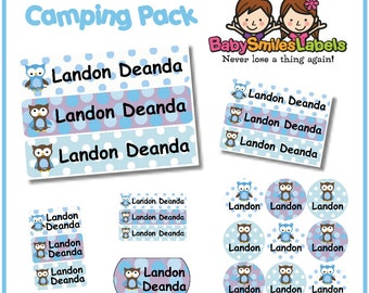 Camp Pack - Personalized Waterproof Labels Shoe Labels Clothing Tag Labels Bag Tags Daycare Labels Name Labels - Polk Dot Owl Boy
