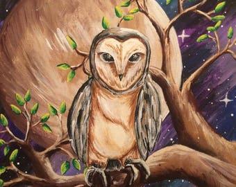 Fantasy Owl -- 11 x 14 Canvas Panel