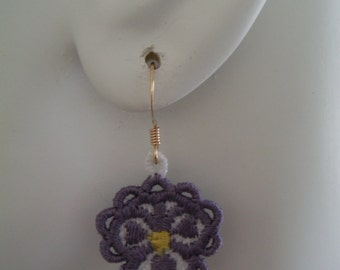 SALE Small Purple and White Lace Pansy Earrings