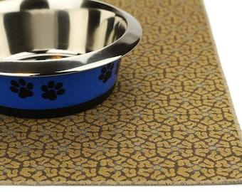 Waterproof Dog Food Mat, Medium 19x25, Dog Placemat, Pet Placemat, Pet Food Mat, No Mess Mat, Non Slip Mat, Splat Mat, Durable,Brown Scrolls