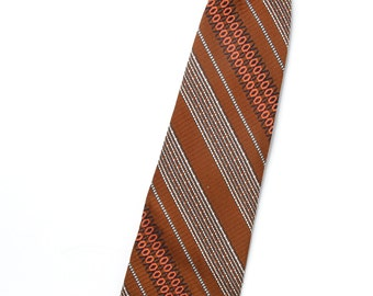 Vintage Mens Tie Beau Brummell Snapper / Brown Striped Necktie / Short Tie / Boys Short Clip On Tie / Childrens Boys Tie / Little Boys Tie